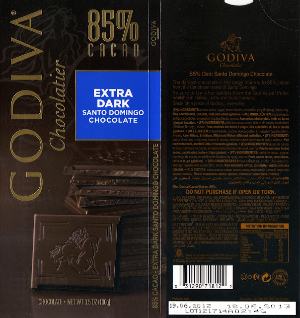 tablette de chocolat noir dégustation godiva noir saint domingue 85