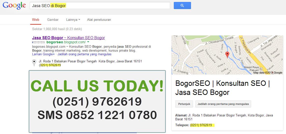 Screenshot Contoh Local SEO dari keyword Jasa SEO di Bogor