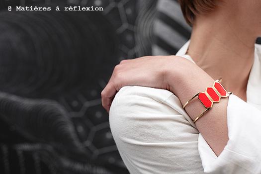 Bracelet Manchette Anne Thomas rouge