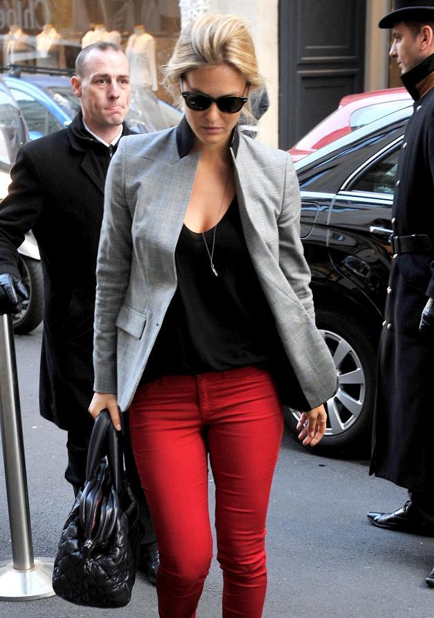 Bar Refaeli wears red pants in Paris