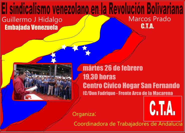 CTA- Encuentro con el sindicalismo bolivariano en Sevilla  Cartelvene