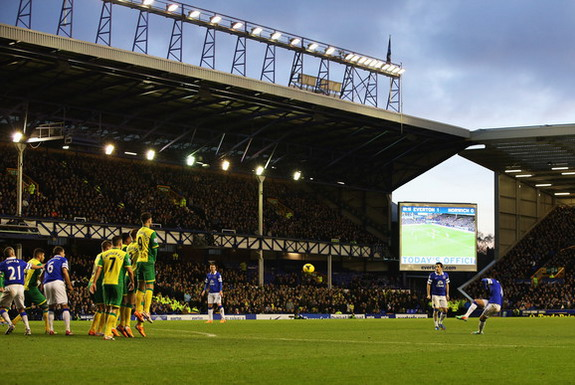 Everton player Kevin Mirallas scores his side's second goal against Norwich from a free-kick