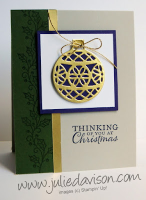 Stampin' Up! Embellished Ornate Ornaments Christmas Card #stampinup 2015 Holiday Catalog www.juliedavison.com