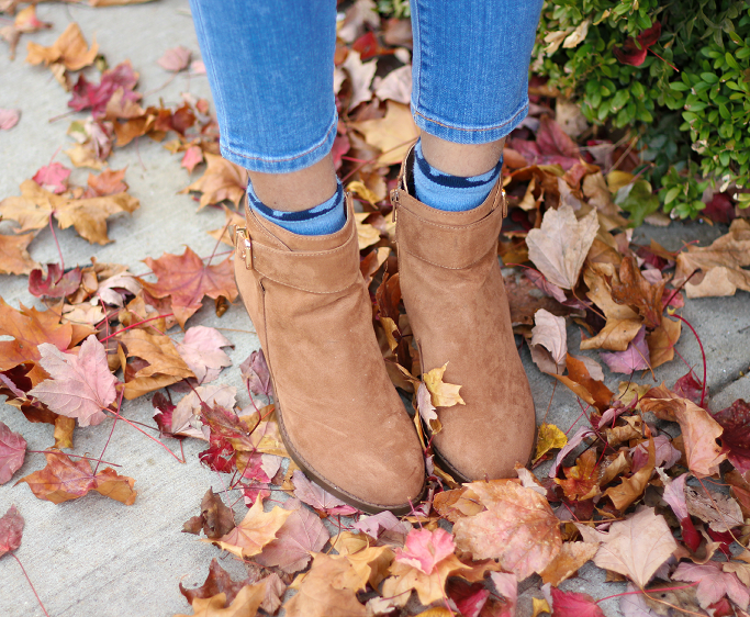 Zara Blue Coat, Fall Outfit Ideas, Tan suede booties, Tan suede ankle boots