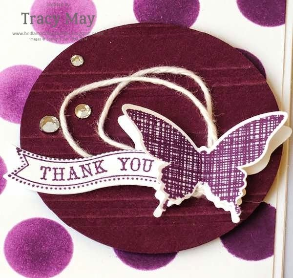 Stampin up uk independent demonstrator Tracy May dots & stripes decorative mask blackberry bliss