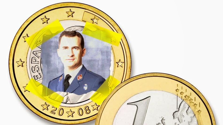 nueva moneda de euro y dos euros del rey felipe vi sexto de España 2014