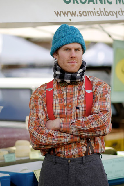 Patrick Stickney suspenders bowtie beanie seattle street style fashion Samish Bay Cheese farmers market