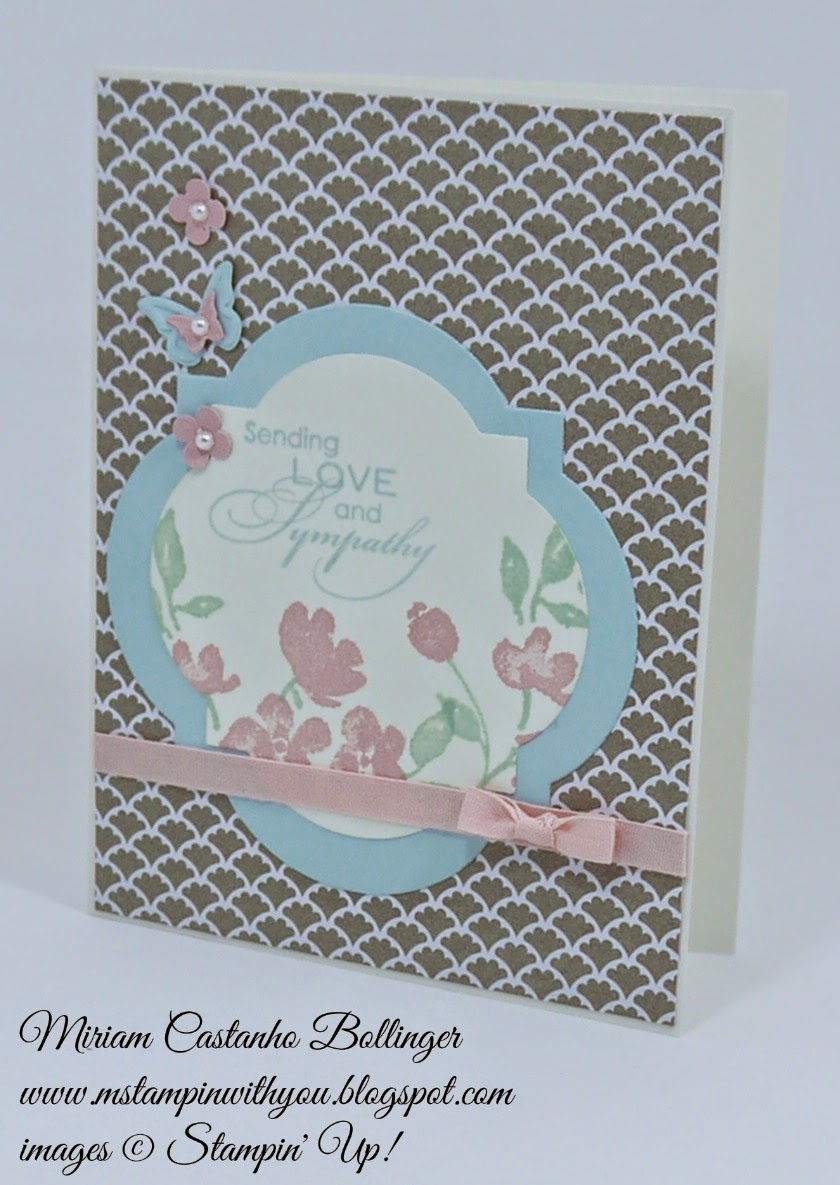 Miriam Castanho Bollinger, #mstampinwithyou, stampin up, demonstrator, sssc, cc, sympathy card, love & sympathy, painted petals stamp set, big shot, beautiful wings, window frames collection, su