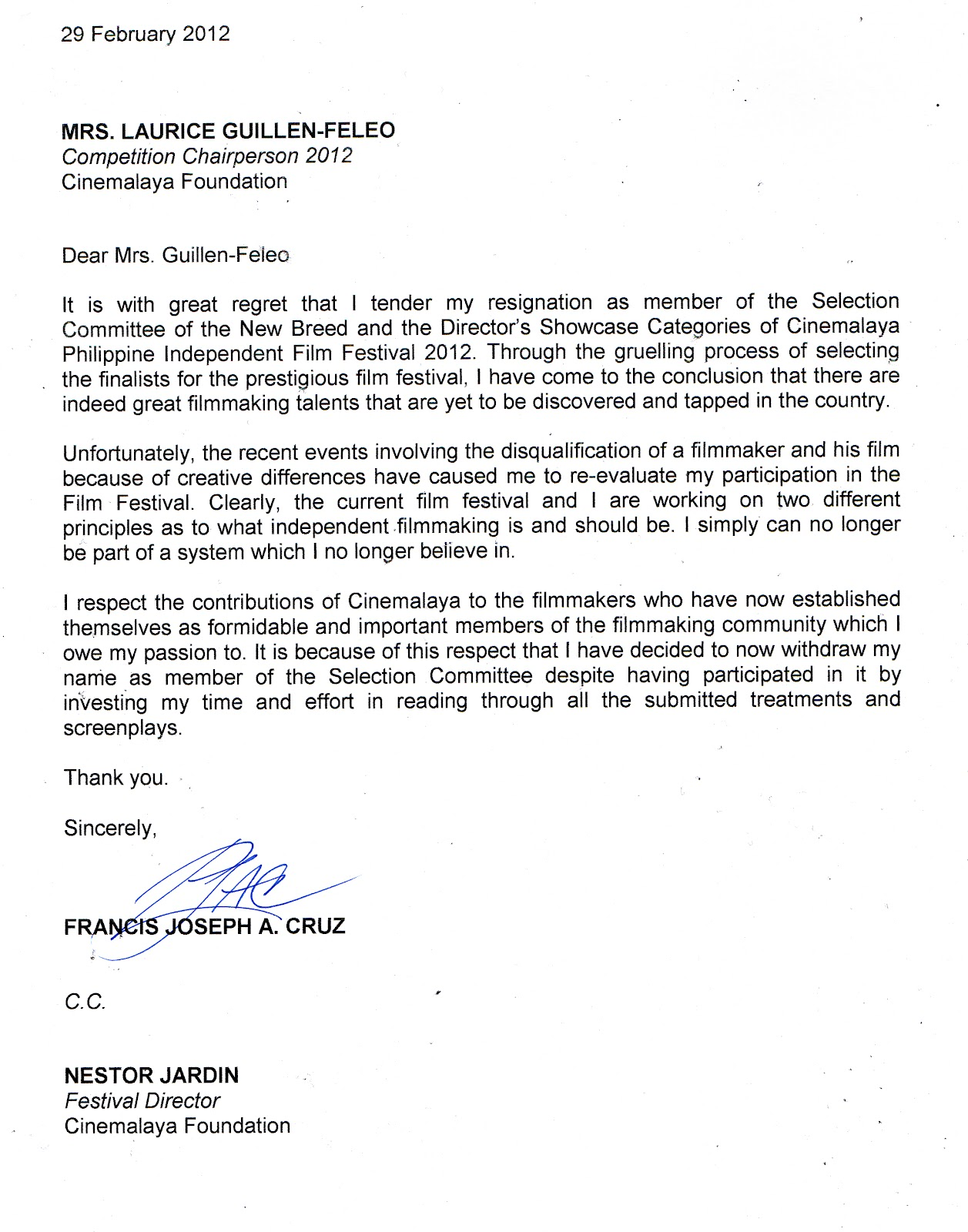 Cinemalaya Resignation Letter