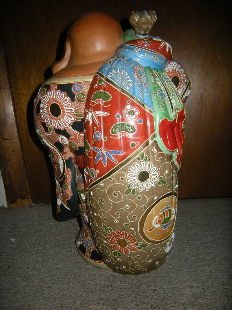 Large Japanese Porcelain Kutani Moriage Hotei Statue 九谷布袋
