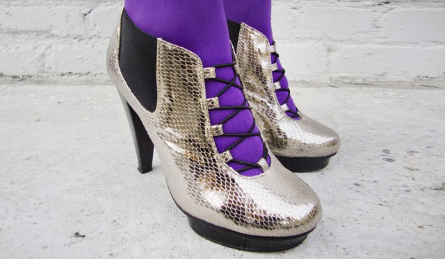 silver high heels, glitter shoes, purple tights