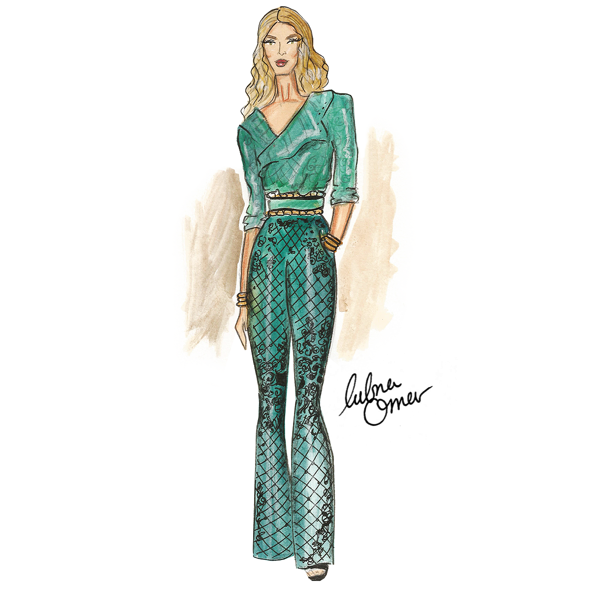 Rosie Huntington-Whiteley in Balmain x H&M illustration by Lubna Omar