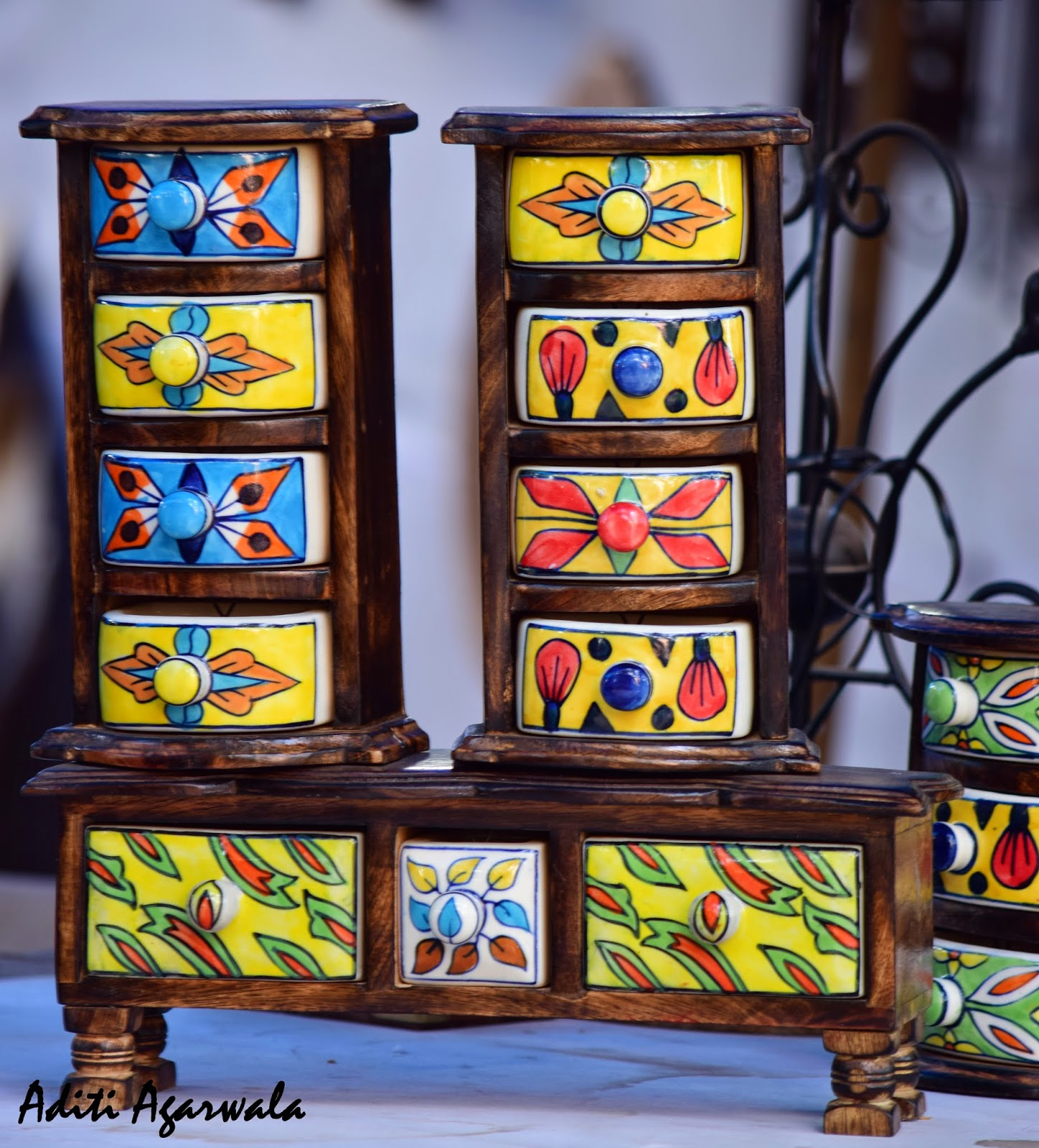 wooden coloured boxes