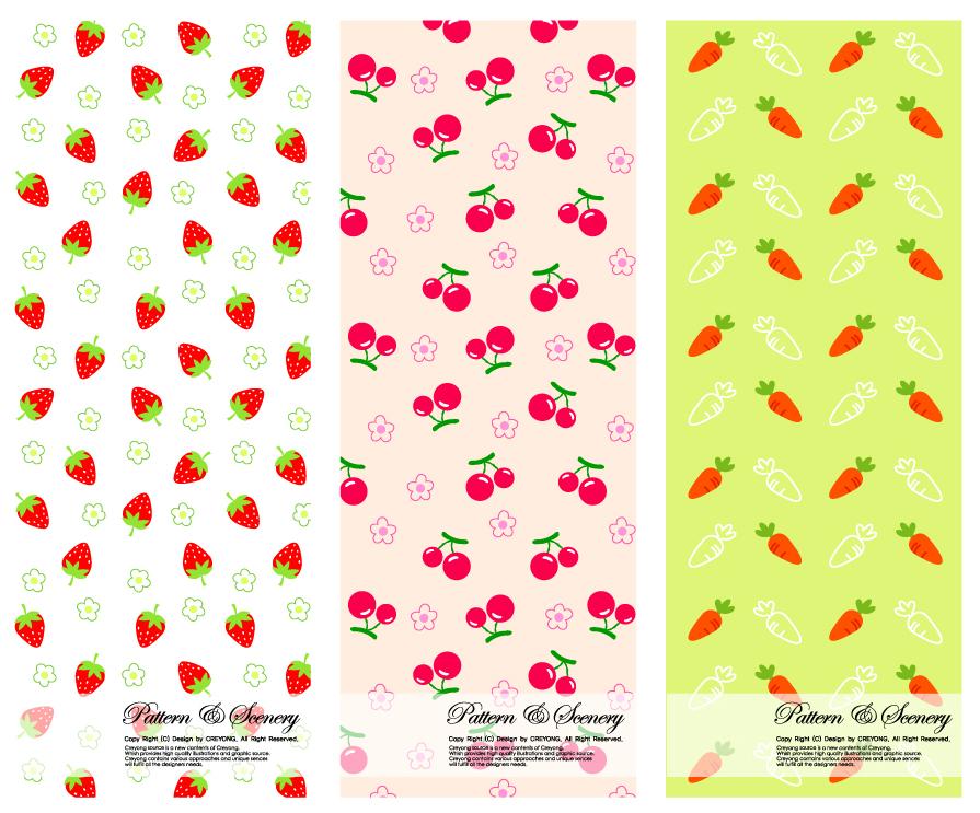 苺 さくらんぼ 人参の背景strawberry cherries carrots background イラスト素材