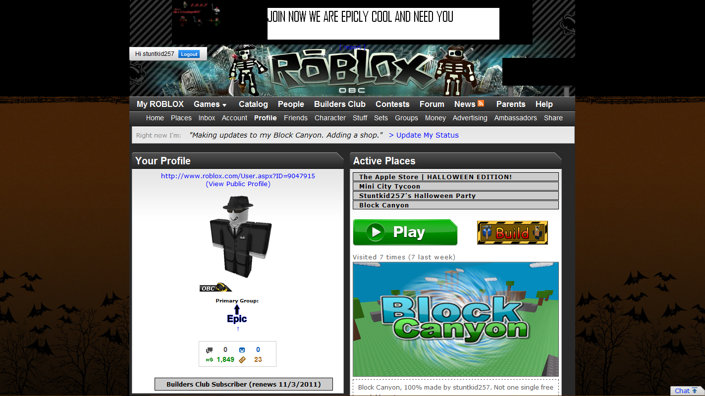New Halloween Background on the ROBLOX Website! Post By ...