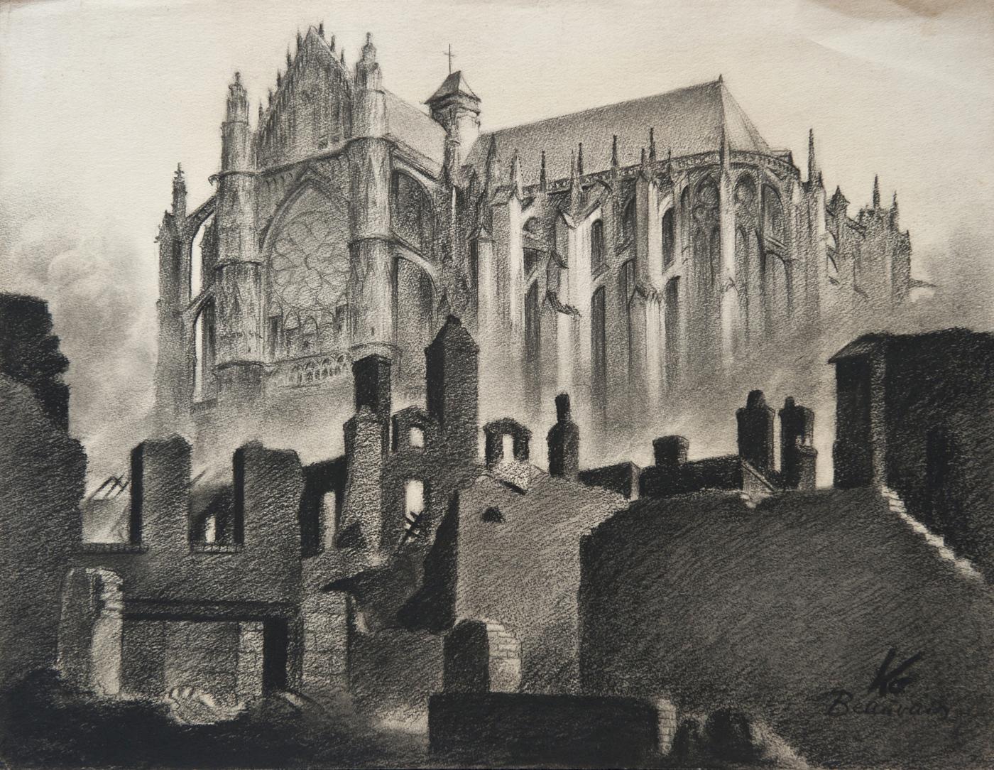 Kothe Zeichnung s w Kathedrahle von Beauvais Frankreich bereits 1941 in Magdeburg ausgestellt