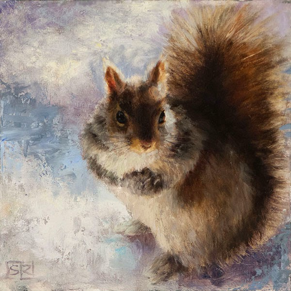 Eastern grey squirrel portrait, painting,  oil on canvas, Shannon Reynolds