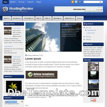 Hosting Reviews blogger template. template blogspot magazine style