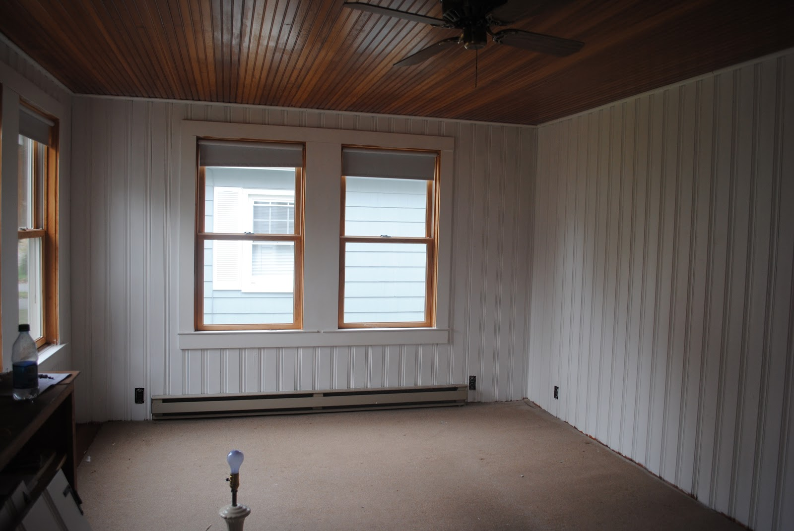 House by holly to paint knotty pine or not paint knotty for How to paint wood windows interior