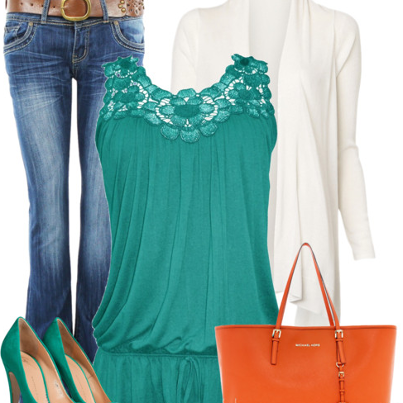 Jeans, green blouse, white cardigan, orange handbag and high heel sandals