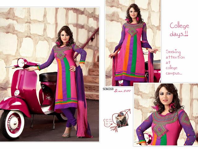 Latest Designer Neck Embroidered Cotton Long Anarkali Suit