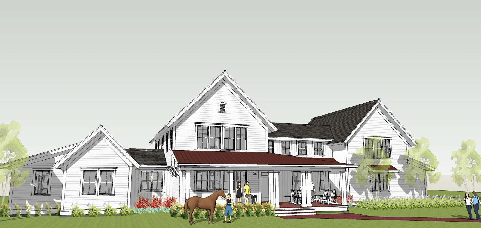 Ron brenner architects new modern farmhouse design completed for House plans farmhouse modern