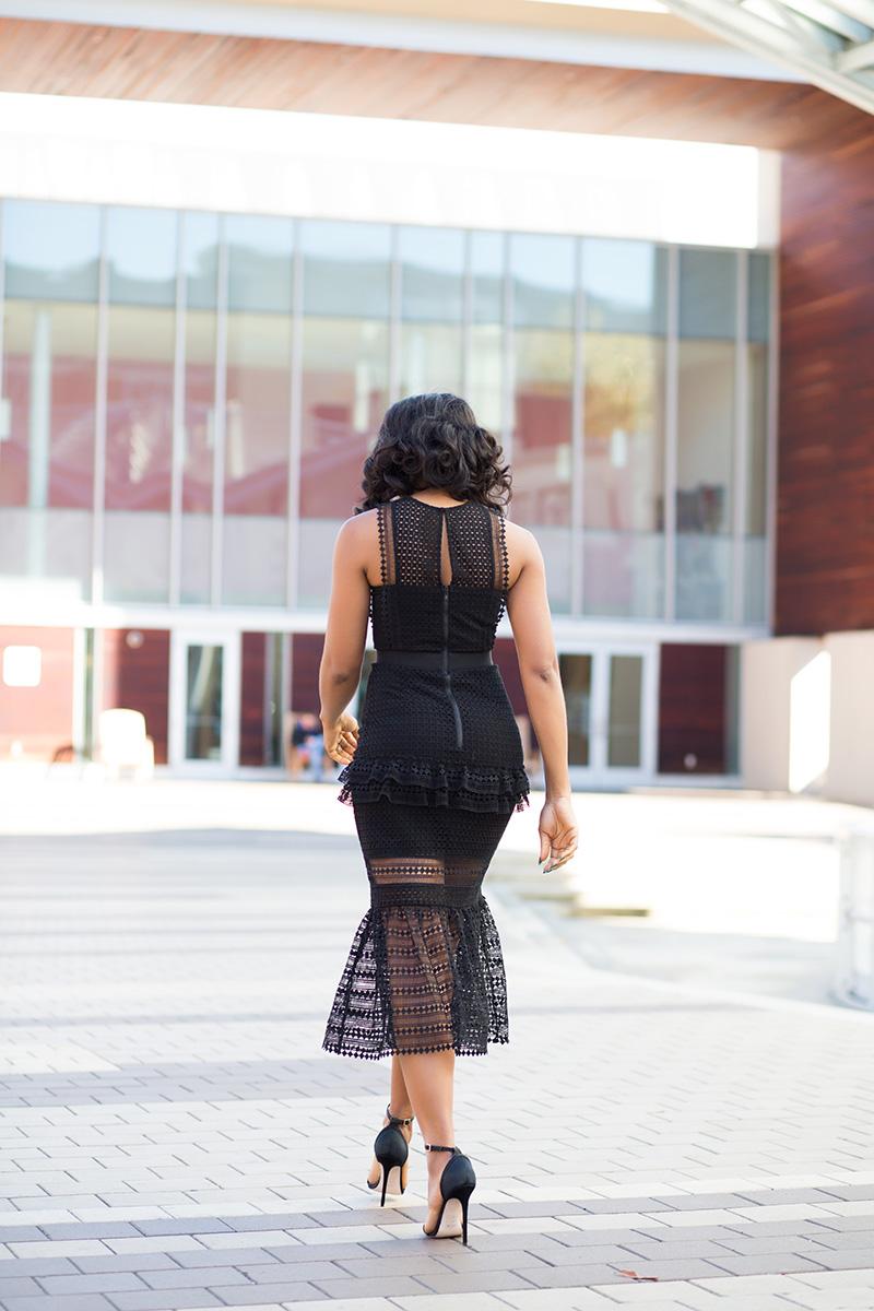 Little black dress, Self Portrait Frilled Column Dress, www.jadore-fashion.com