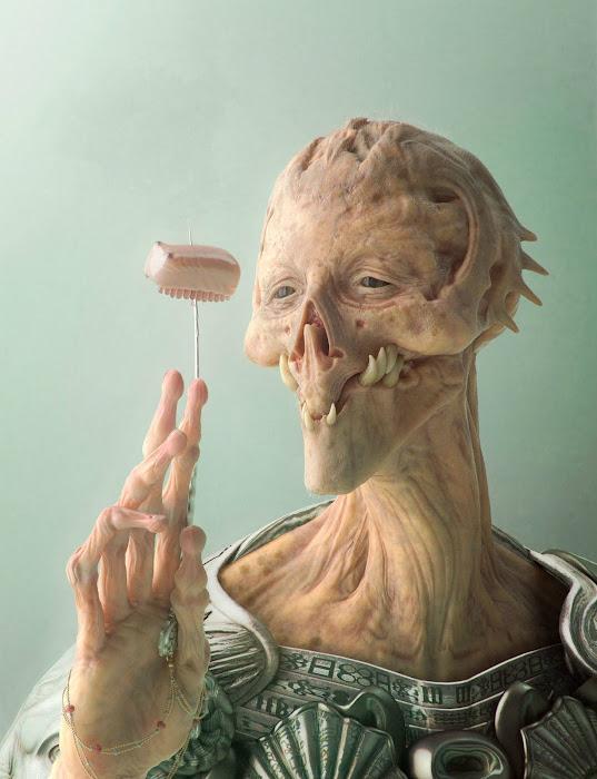 Alien Eating Dinner