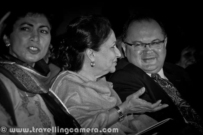 Hope that you have already checked inaugural Photo Journey from 14th Bharat Rang Mahotsav at HERE. Here are few more photographs from inaugural ceremony at Kamani Auditorium. Let's check out this Photo Journey from Bharangam-2012...Kumari Selja, Anuradha Kapur, Jawahar Sircar , Sharmila Tagore and Amal Allana doing formal inauguration of 14th Bharat Rang Mahotsav !!!Kumari Selja and Sharmila Tagore involved in some chit chat, before actual start of inauguration ceremony of Bharat Rang Mahotsav at Kamani Auditorium. Amal Allana presenting flowers to Kumari Selja on main stage of inauguration ceremony, Bharat Rang Mahotsav, Delhi, India !!As per TOI - 'Bharat Rang Mahotsav is showing 97 productions, including 16 foreign plays, at 11 venues in the capital city of India - Delhi. Poland will be the international focus country with three plays and two exhibitions while fringe groups like eunuchs, dwarfs and non-actors will get an opportunity to stage their productions, NSD chairperson Amal Allana announced on Tuesday during a media interface here.First Bharat Rang Mahotsav started in 1999 and more details about each version till last year, please have a look at http://en.wikipedia.org/wiki/Bharat_Rang_MahotsaThis is how official website of Bharat Rang Mahotsav defines this International Theatre Festival - 'Bharat Rang Mahotsav was established a decade ago by the National School of Drama(Delhi, India) to stimulate the growth and development of theatre across the country. Originally a national festival showcasing the work of the most creative theatre workers in India, it has evolved to international scope, hosting theatre companies from around the world, and is now the largest theatre festival of Asia.Kumari Selja, Minister of Culture India, showing Momento of Bharat Rang Mahotsav 2012 !!Anuradha Kapur addressing the audience on inauguration day of Bharat Rang Mahotsav at Kamani Auditorium, Delhi.  She also conveyed that some of the plays are being showcased in Amritsar, Punjab. This is first time that Bharat Rang Mahotsav is being celebrated in more than one cities of India and extended to other state of the nation. Wish that it keeps gorwing and other states can also taste the fun involved with a right mix of culture, theatre and artBharat Rang Mahotsav started on 8th January and will end on 22nd Jan'2012. Various plays from different parts of the world would be showcased in different auditoriums of National School of Drama and other popular auditoriums around Mani House, Delhi15000 viewers are expected during these two weeks of the Festival. Most of the shows are full and were booked overnight on Bookmyshow. Some of the tickets were also sold at National School of Drama, but it was not that easy to get access to the counter as many theatre fans came early in the morning to line up for tickets. Good to see such enthusiasm towards Theatre and it's constantly increasing.Every one on the auditorium was waiting to hear some words form Gues of Honor, Sharmila Tagore. She came up to the stage with a smile on her face and some emotional moments during the talk. She mentioned about some of the theatre artists who helped her in improving her acting skills during her career. She also mentioned about her interest  in theatre since childhood and she was also a part of active theatre in her schoolSome laughter moments when Kumari Selja was addressing the audience at Kamani. Anuradha, Director NSD was happy to hear some of the announcements about improving theatre infrastructure and proving more funds for organizing such events in various parts of the country. National School of Drama is very well decorated for this Festival and there is a special food court designed which will be accessible after plays in various Auditoriums of National School of Drama and others around it. I was bit surprised to see that most of the activities were outsourced while National School of Drama is extremely rich in terms of skills and humbleness they have. I wish people from NSD involve more in regular activities of Bharat Rang Mahotsav.With all sweet memories of this evening with various excellencies form Theatre, Bollywood and Art, now it's time to watch some of the masterpieces  by various productions from India and abroad. Keep watching this place for more updates from Bharat Rang Mahotsav 2012