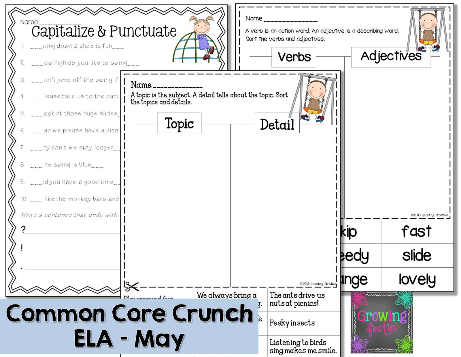 Growing Firsties - Common Core Crunch - May ELA