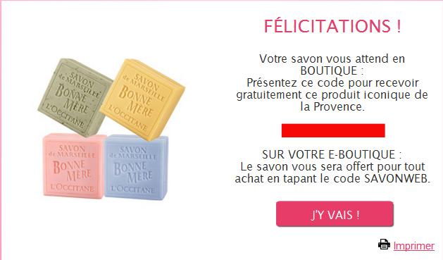 Cadeau 100% gratuit:  Un Savon Bonne Mère 125g offert  sans obligation d'achat dans les boutiques Participantes L'Occitane bon plan fête des mère savon gratuit