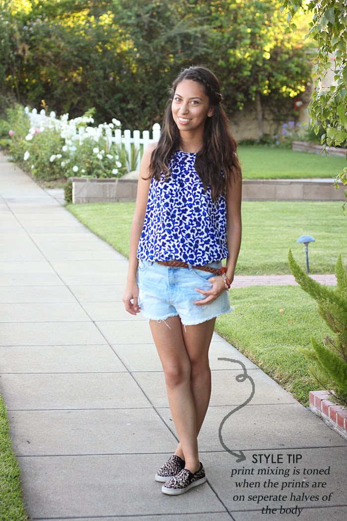 blue floral top, leopard sneakers