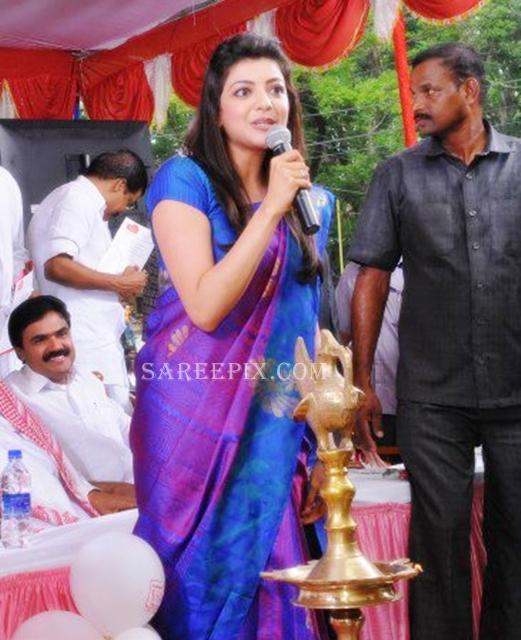 Kajal-agarwal-saree-speech-Karikkineth-silks-inauguration-Kottayam