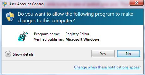 Start Registry Editor to Disable Windows Notification Area