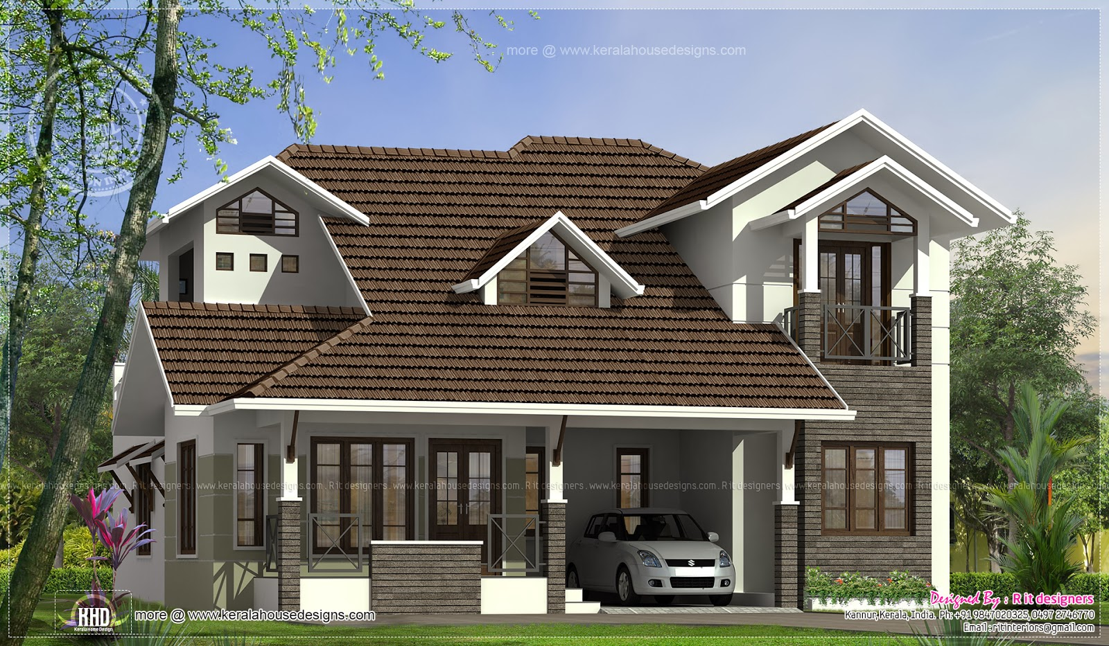 2551 square feet 4 bedroom villa exterior kerala home for 900 sq ft modular home