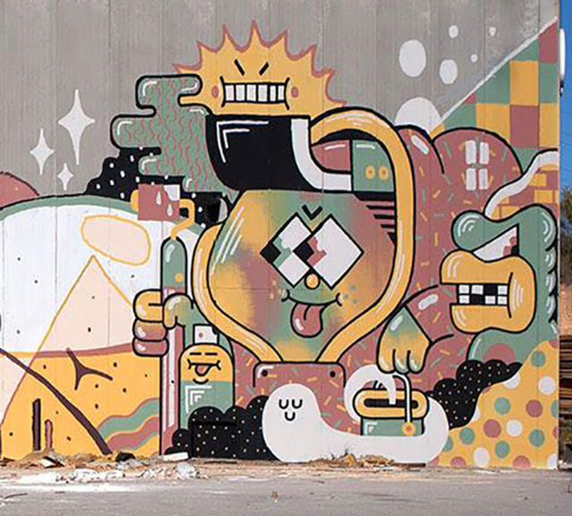 Brand New Street Art Collaboration By Aryz, Vino and Gr170 Somewhere in Spain. 2