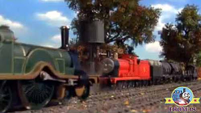 A long journey Emerald Emily the green train needed water James the train at the Sodor water tower