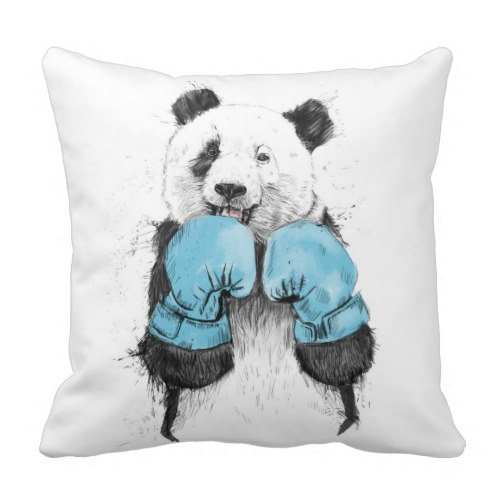 Giant Panda the Boxer | Fun Art Throw Pillow