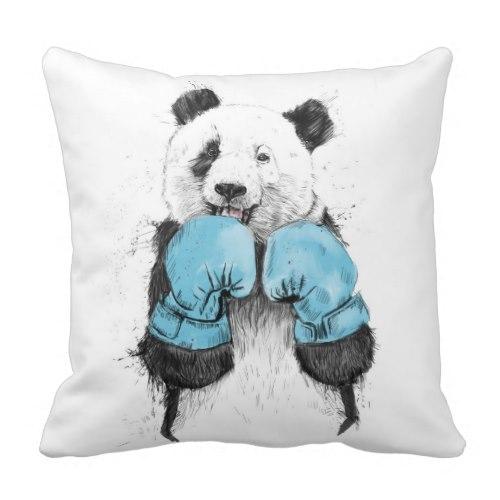 Giant Panda the Boxer | Fun Art Throw Pillow