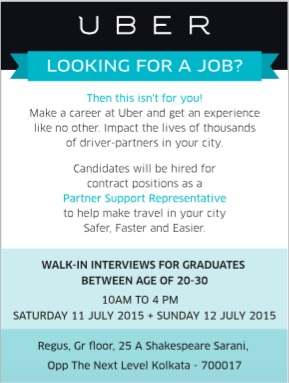 Uber Kolkata is hiring for Uber Partner Support Representatives Walk in on 11th and 12th July