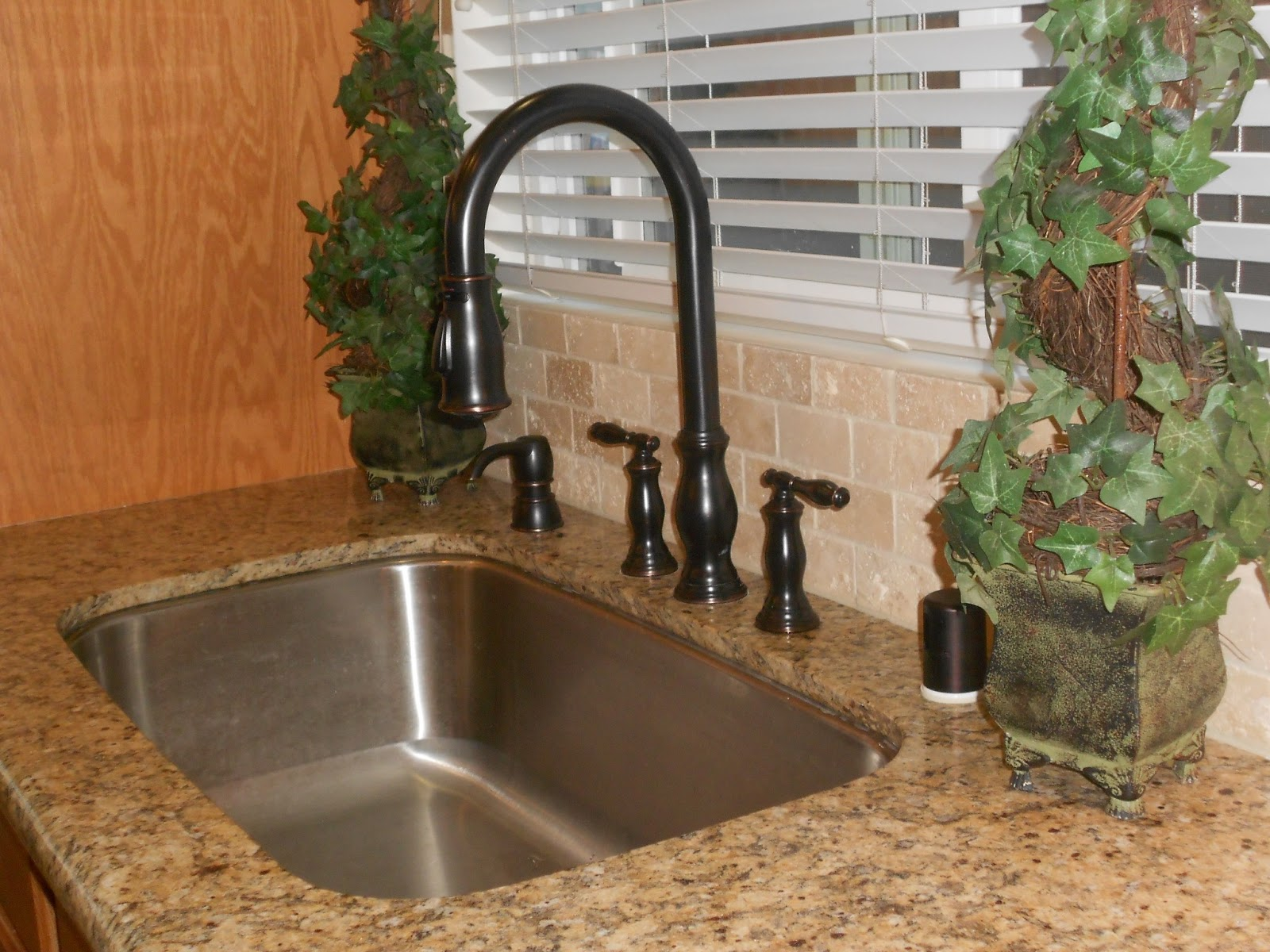 Bronze Faucet With Stainless Steel Sink Kitchen Sinks Faucets Oil