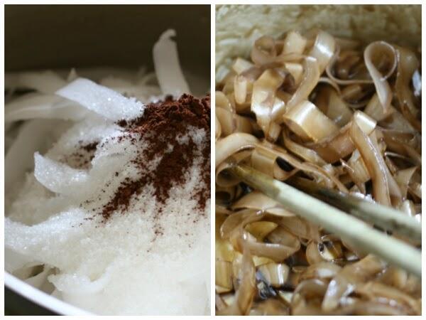 Cách làm mứt dừa lá dừa, ca cao, trà xanh 3