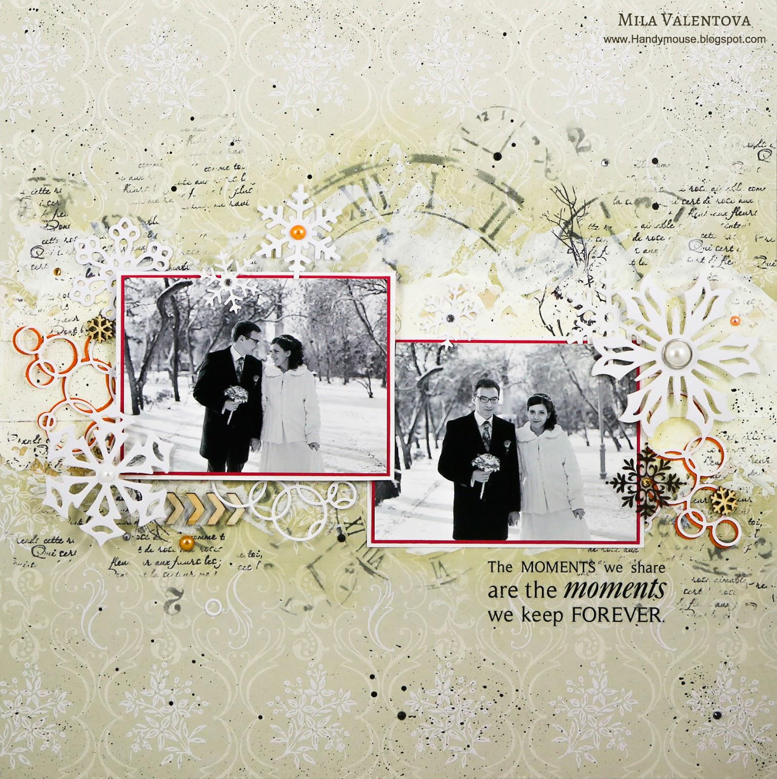 Скрапбукинг. Страничка свадебного альбома вальс снежинок. Мила Валентова.