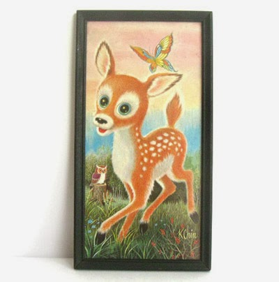 ismoyo's vintage playground - vintage big eyed art deer by K. Chin