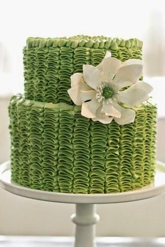 Green ruffle buttercream cake