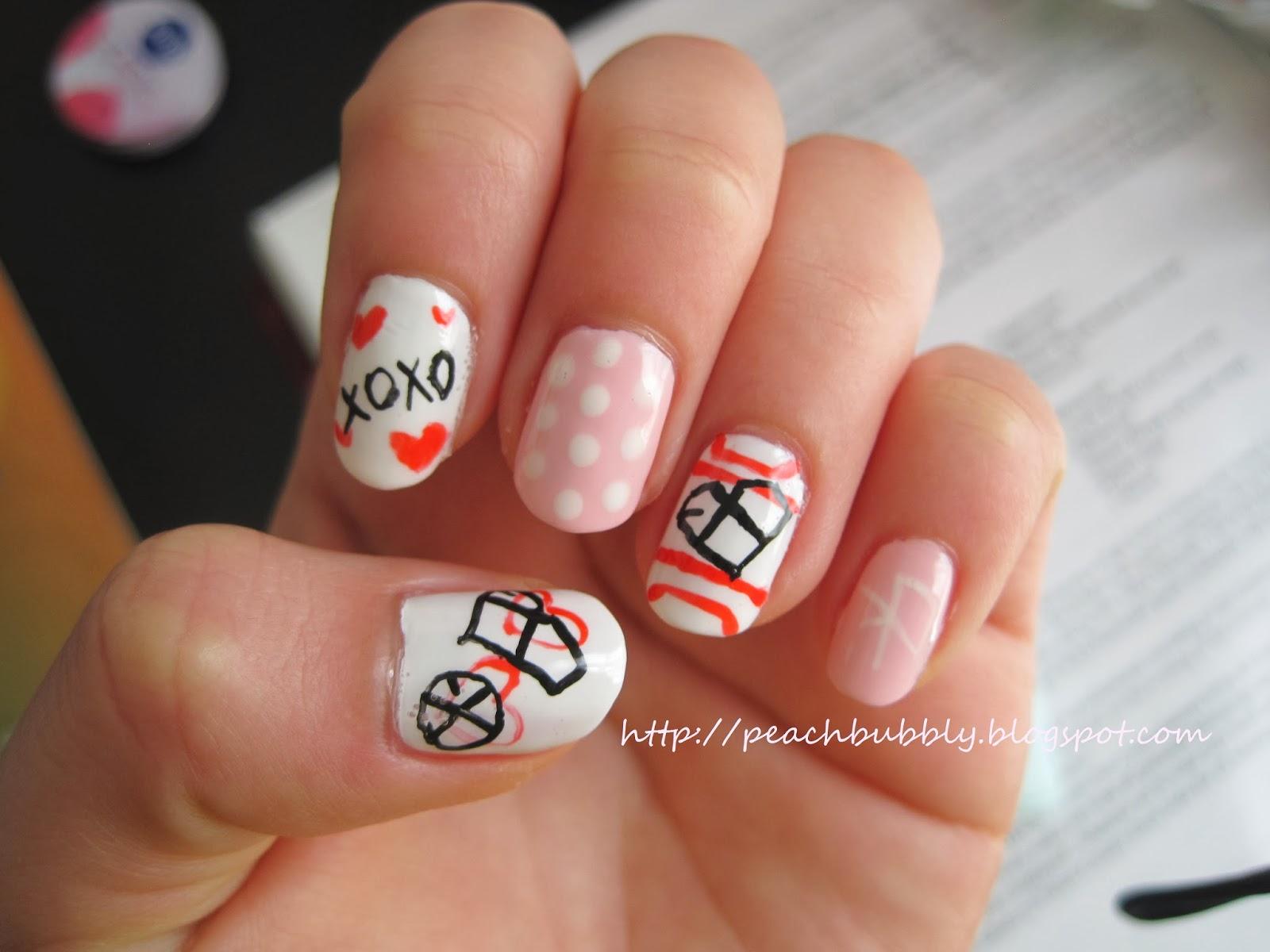 Peachbubbly Kpop Nails Exo Inspired Valentines Day Nail Art