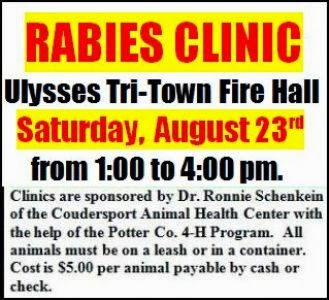 8-23 Rabies Clinic--Ulysses Fire Hall
