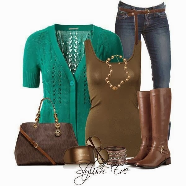 Blue cardigan, brown cardigan, jeans and high heels for fall