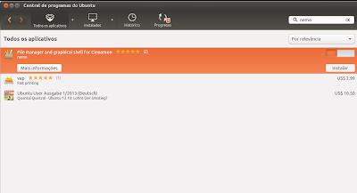 Nemo na Central de Programas no Ubuntu