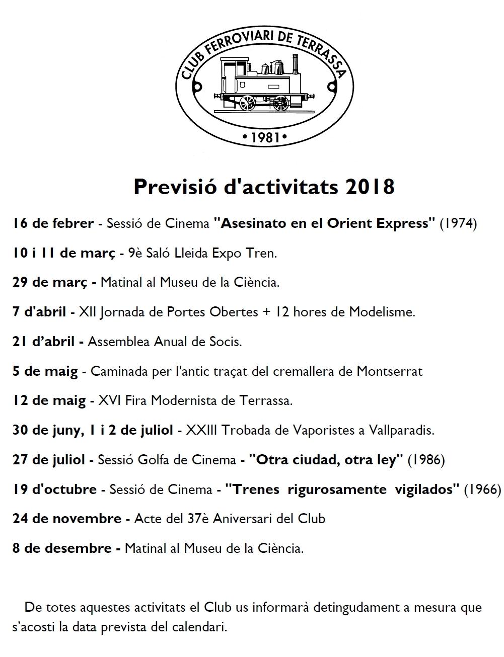 Correcció d'errades de la Previsió d'activitats - 20-JUNY-2018